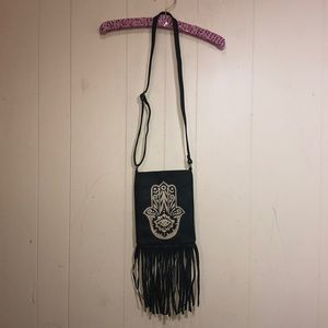 Fringe black cross body purse